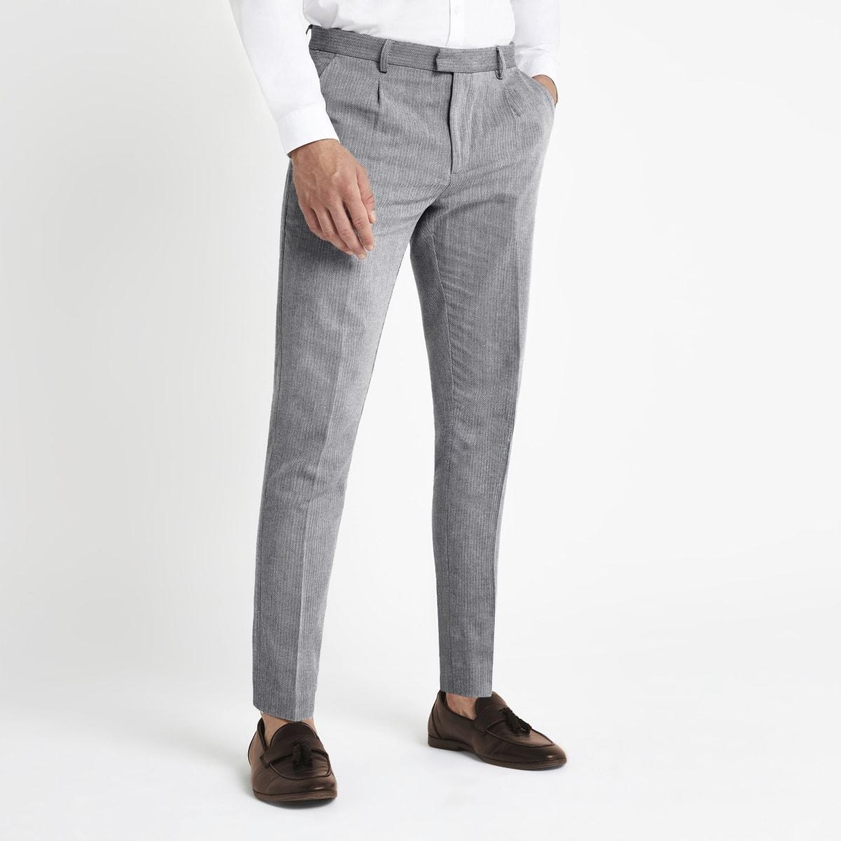 Grey Herringbone skinny smart pants