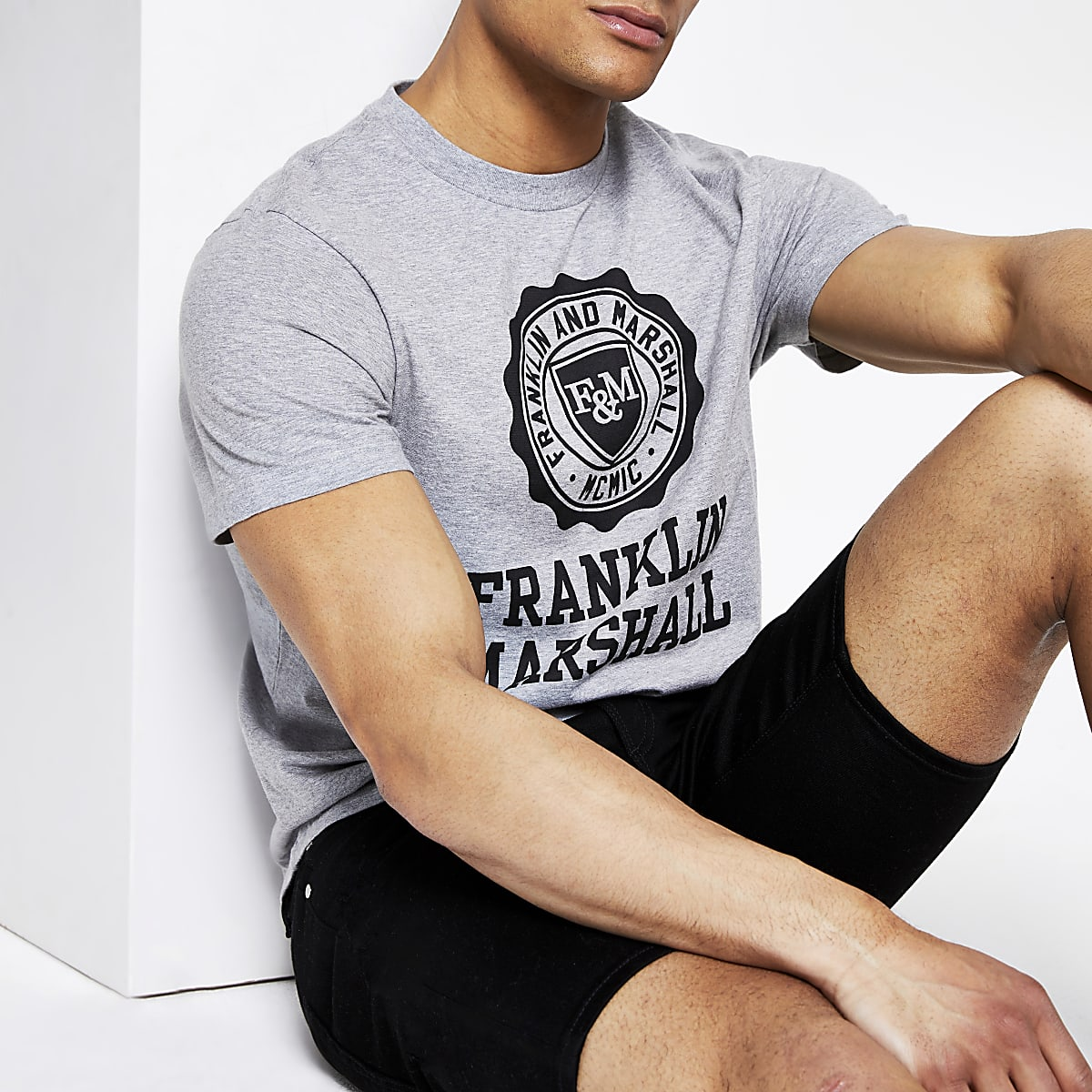 Franklin and Marshall grey logo T-shirt