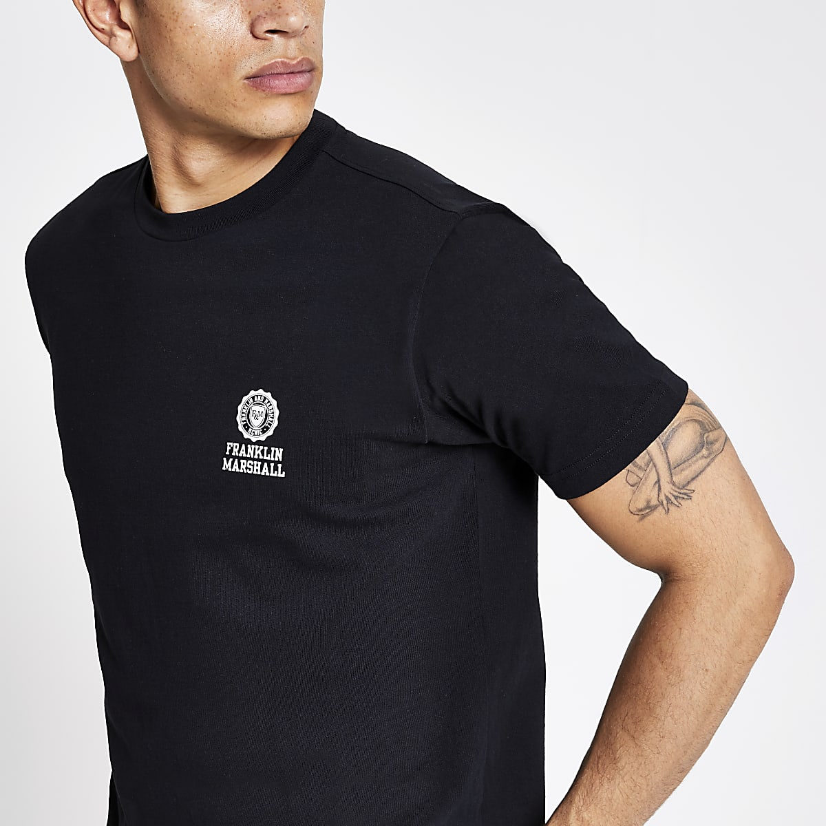 Franklin and Marshall - Zwart T-shirt met logo