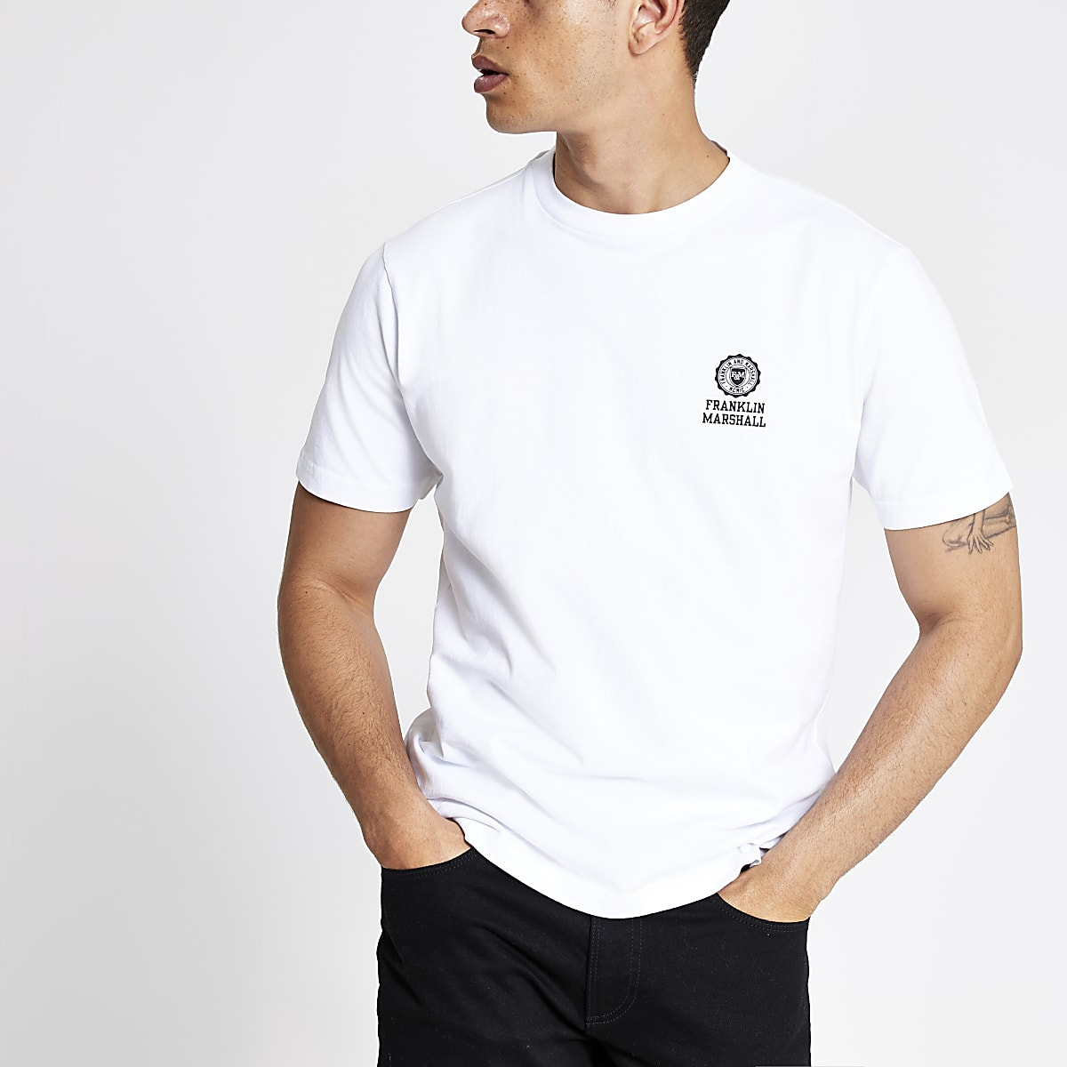 Franklin and Marshall - Wit T-shirt met logo