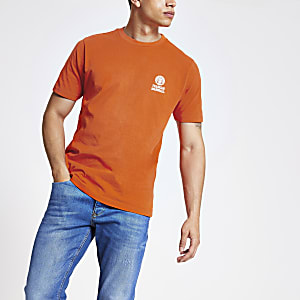 Franklin and Marshall orange logo T-shirt