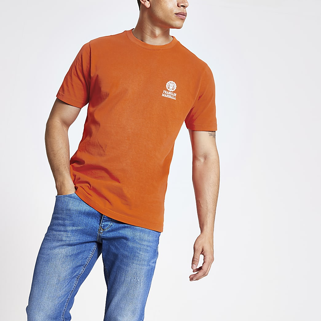 Franklin and Marshall - Oranje T-shirt met logo