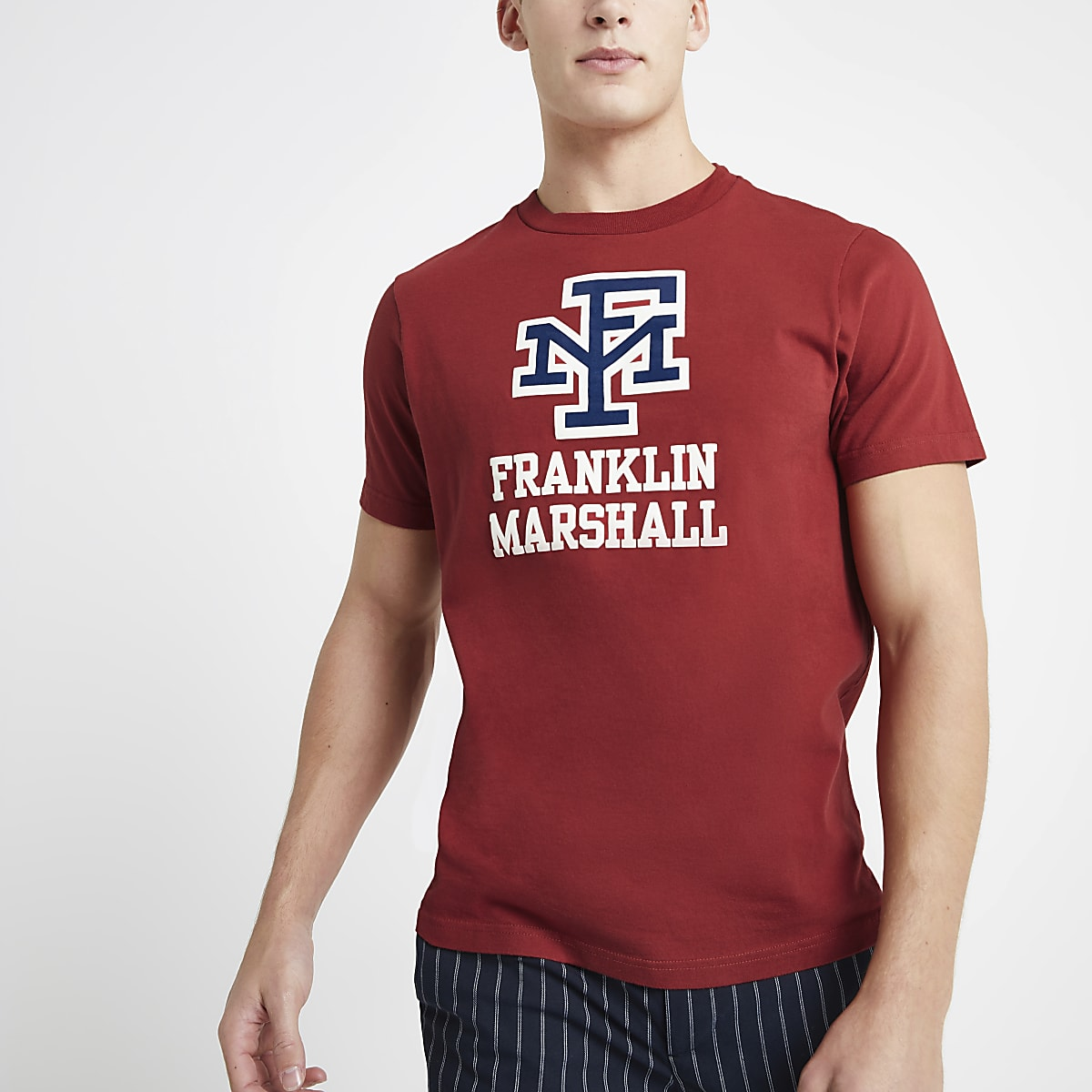 Franklin & Marshall red logo print T-shirt