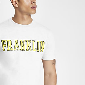 Franklin & Marshall grey yellow logo T-shirt