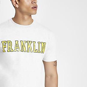 Franklin & Marshall – T-shirt gris à logo jaune
