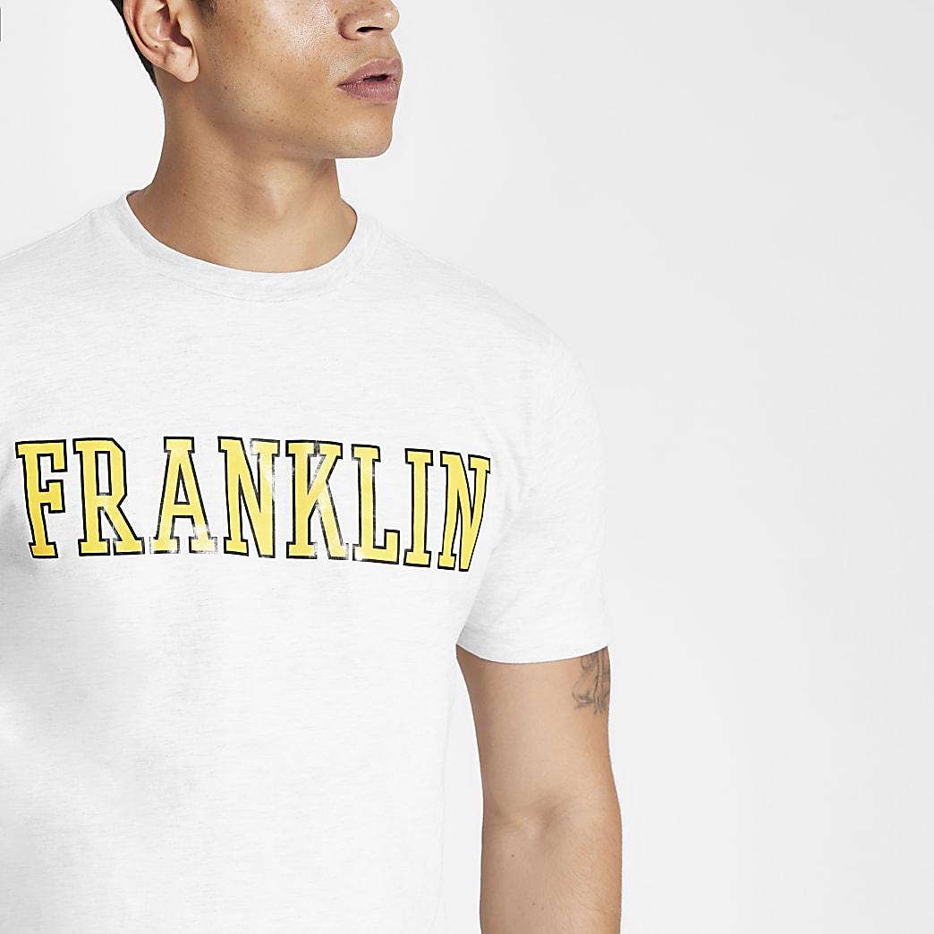 Franklin & Marshall – Graues T-Shirt mit gelbem Logo