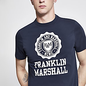 Franklin and Marshall - T-shirt bleu marine à logo