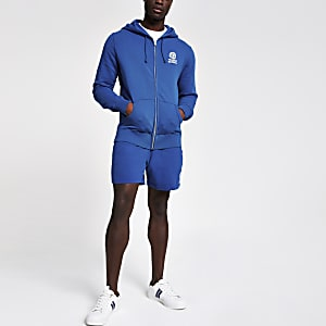 Franklin & Marshall ‒ Sweat bleu zippé à capuche