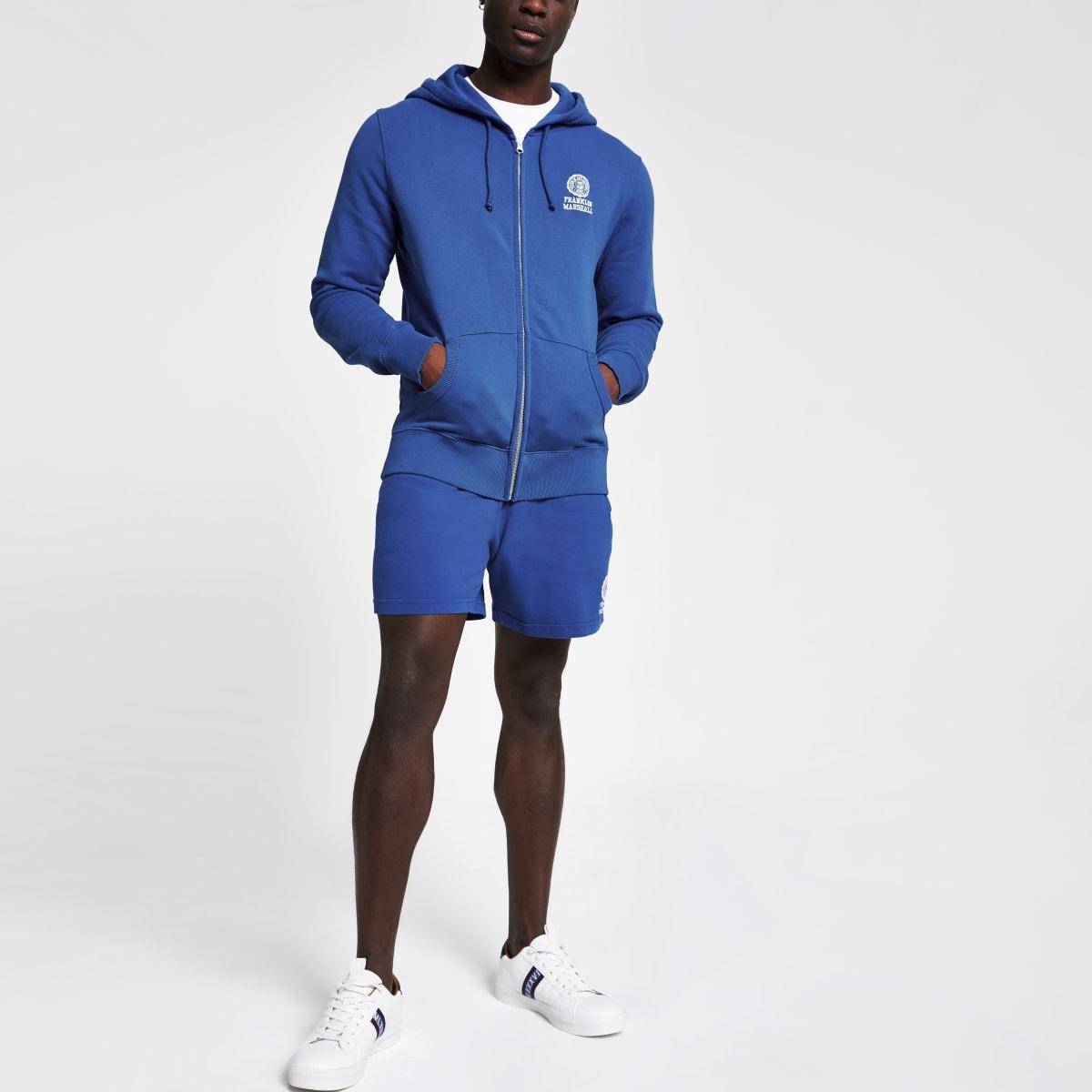 Franklin & Marshall ‒ Sweat bleu zippé à capuche