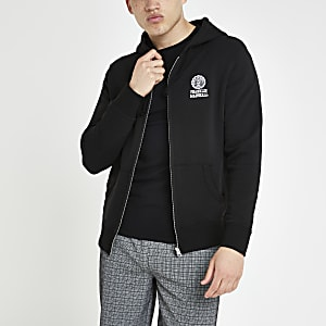 Franklin and Marshall - Zwarte hoodie met rits