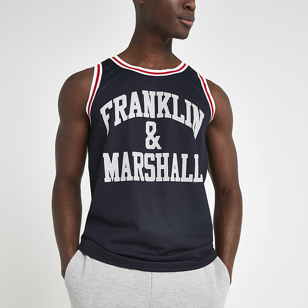 Franklin and Marshall navy mesh vest