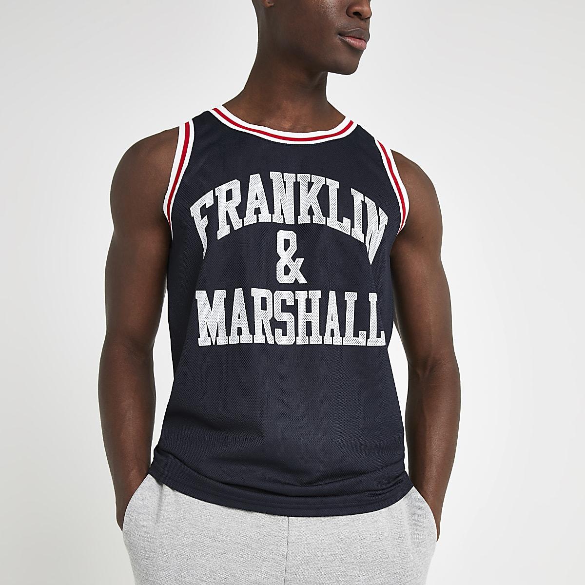 Franklin and Marshall navy mesh tank