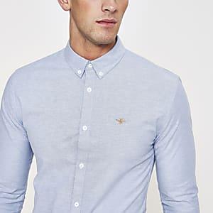 Blauw aansluitend oxford overhemd