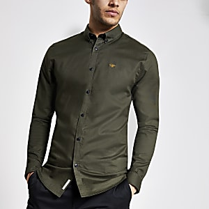 Green muscle fit Oxford shirt