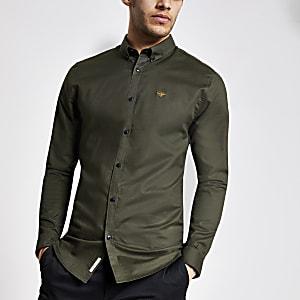 Groen aansluitend Oxford overhemd