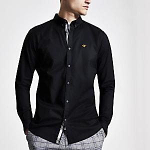 Zwart geborduurd slim-fit oxford overhemd met wespenprint