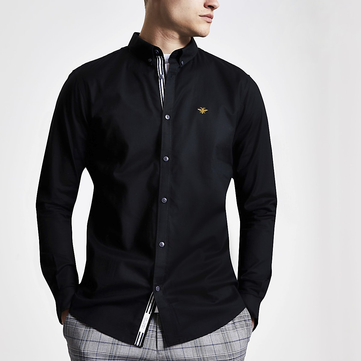 Black wasp embroidered slim fit Oxford shirt