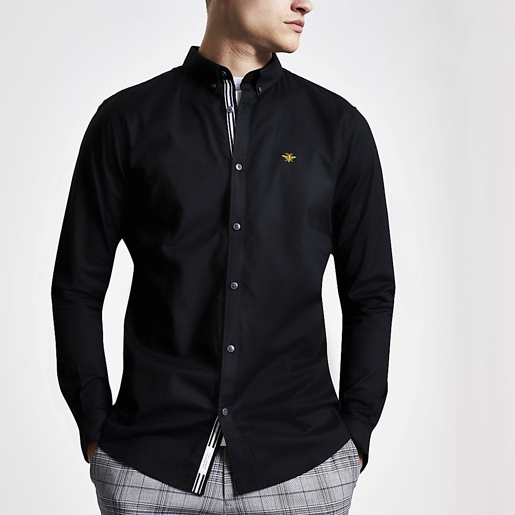 Zwart geborduurd slim-fit Oxford overhemd