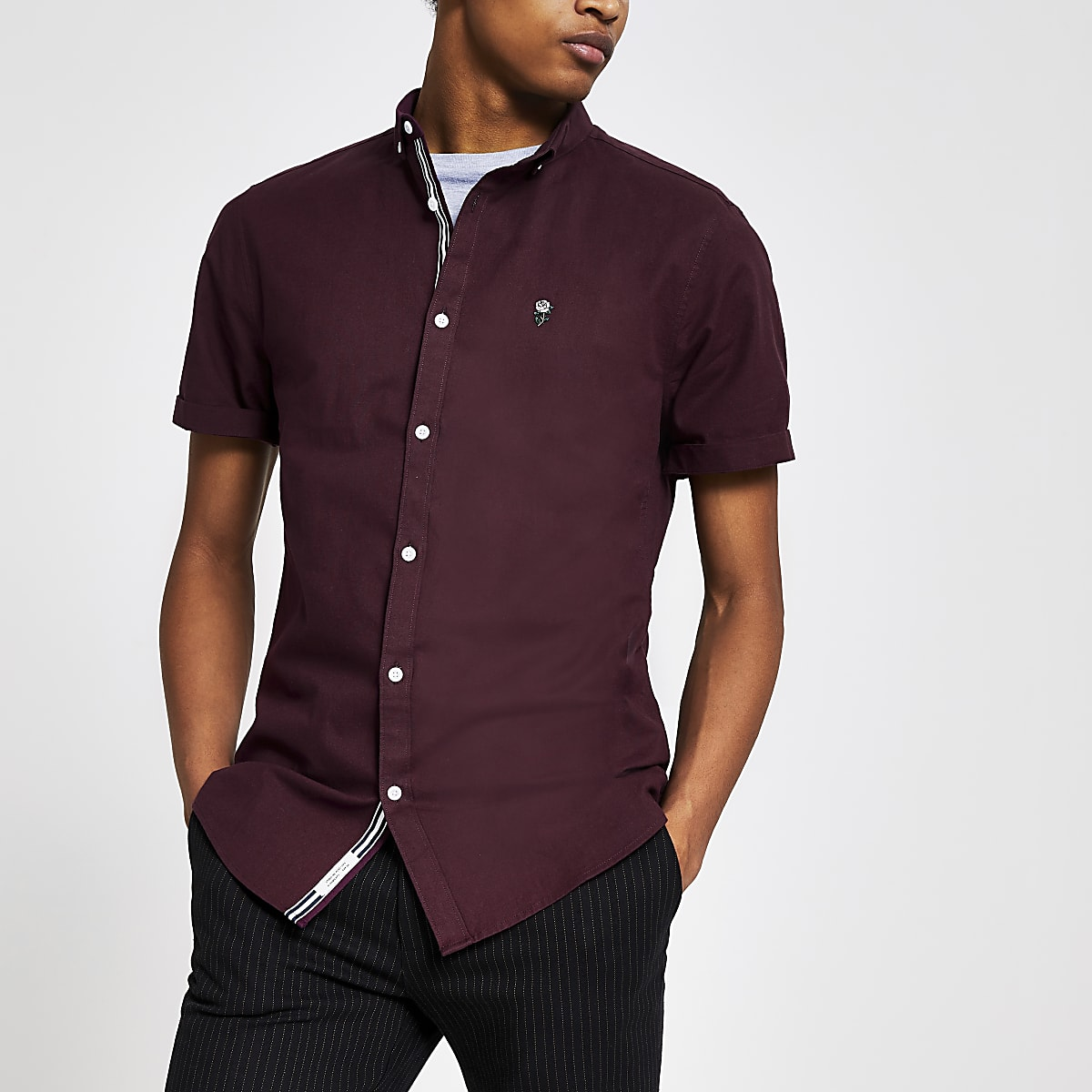 Dark red slim fit short sleeve Oxford shirt