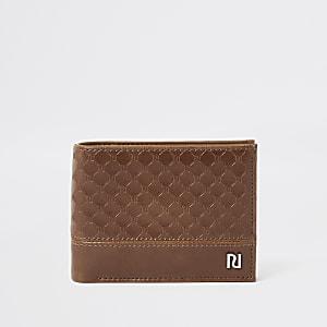 Lichtbruine portemonnee met RI-monogram