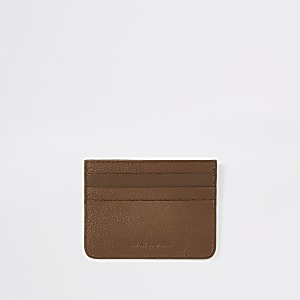 Light brown RI textured leather cardholder