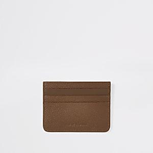 Porte-cartes RI en cuir texturé marron clair
