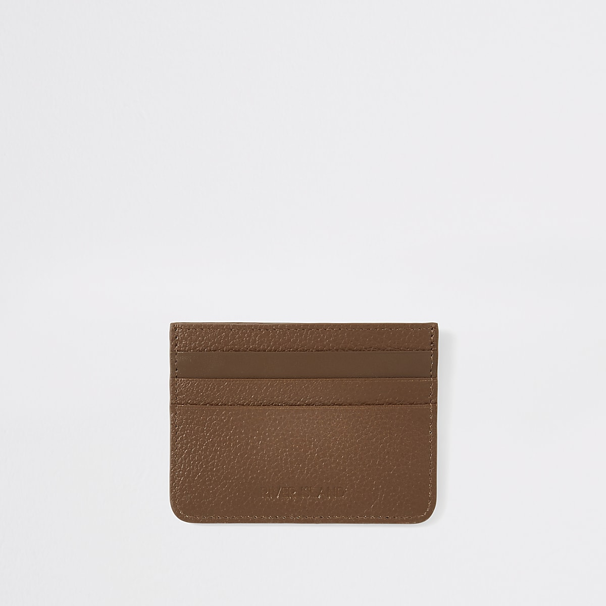 Porte-cartes RI en cuir texturé fauve