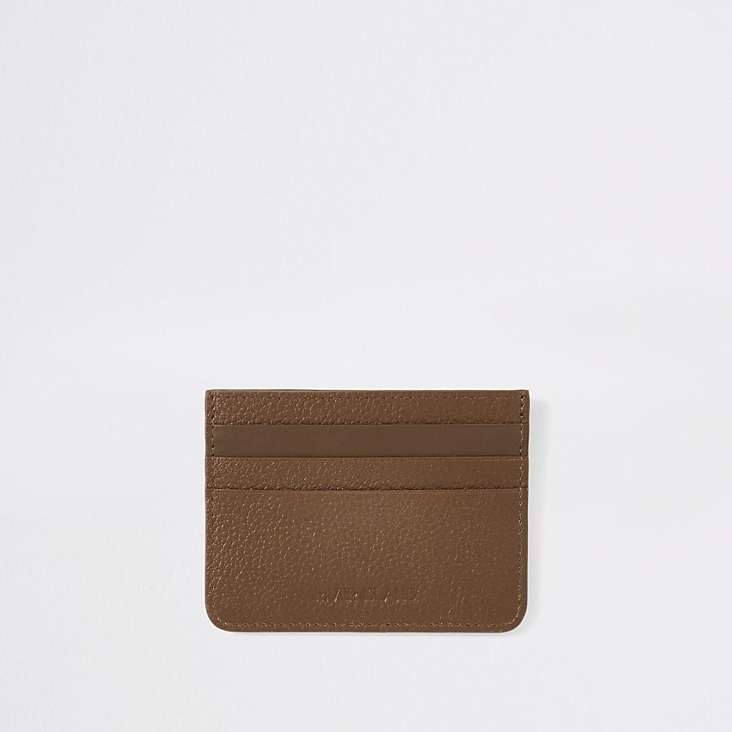 Tan RI textured leather cardholder
