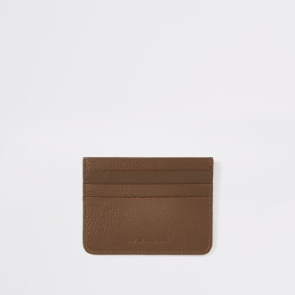 Tan RI textured leather cardholder