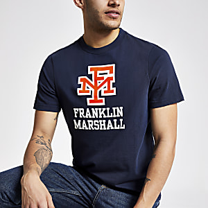 Franklin & Marshall navy logo print T-shirt