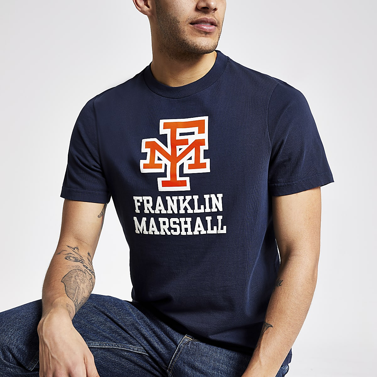 Franklin & Marshall navy logo print T-shirt