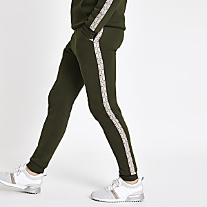 Pantalon de jogging slim à carreaux kaki