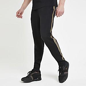 Pantalon de jogging slim noir à bandes imprimées