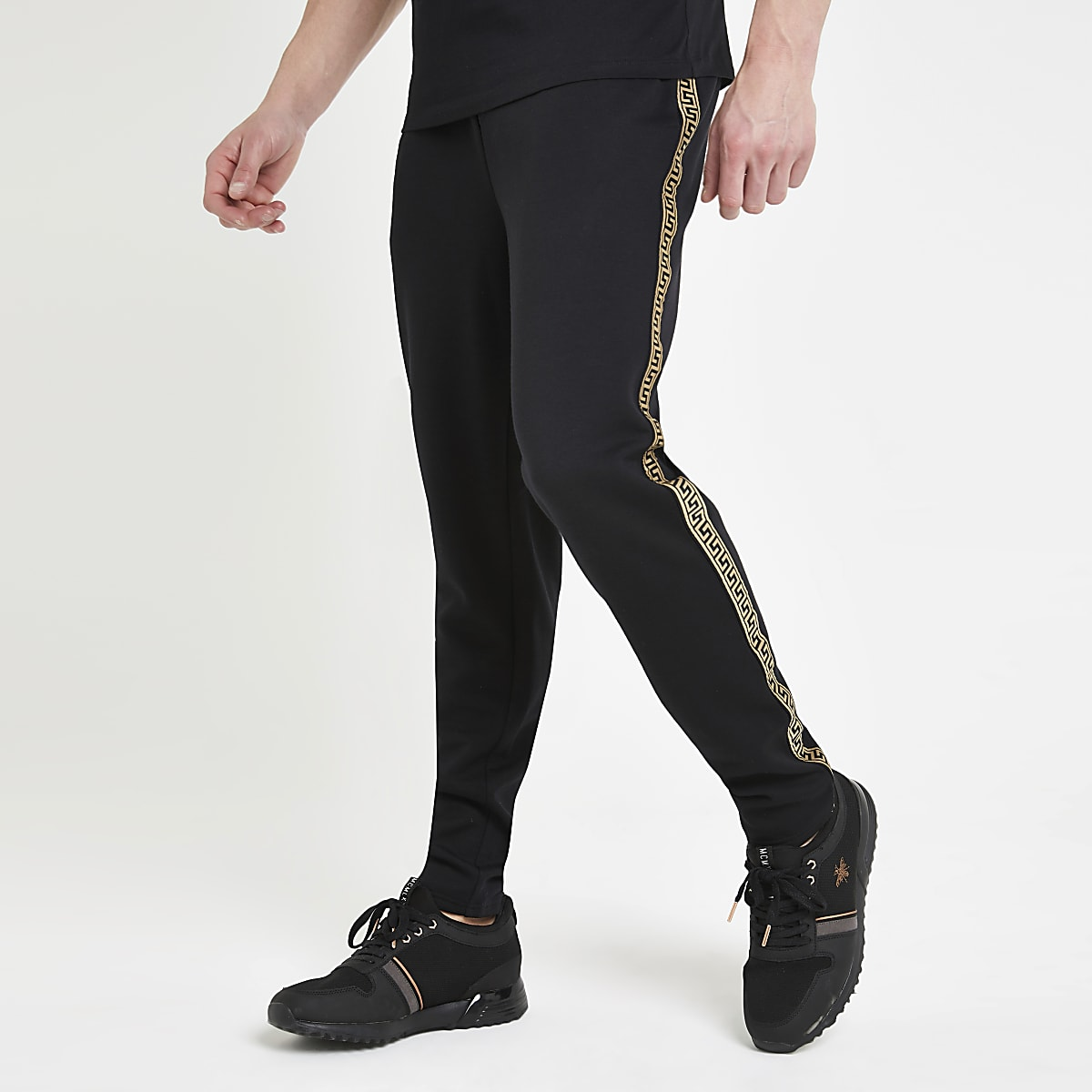 Black printed tape slim fit joggers