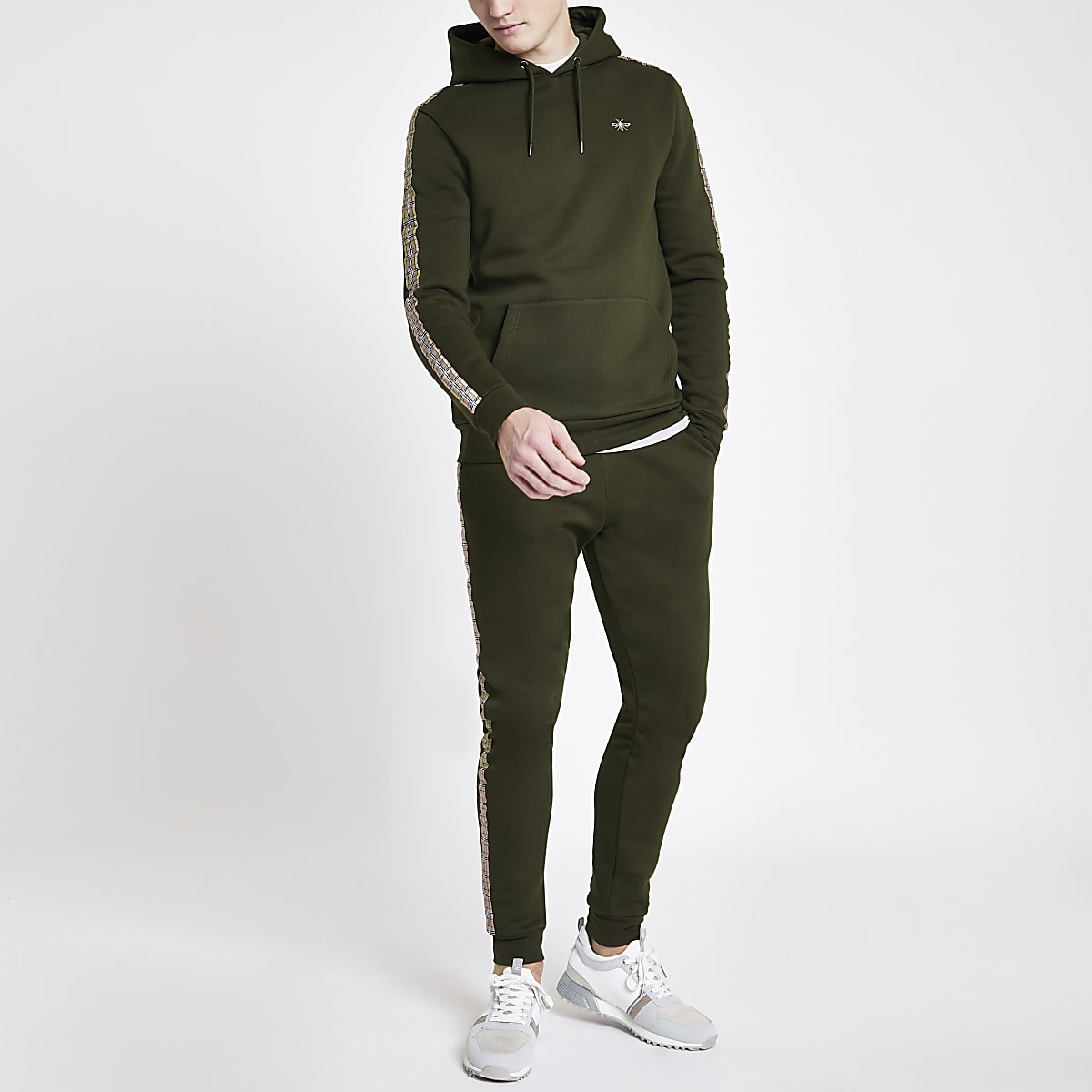 Khaki check tape slim fit hoodie
