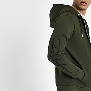 Kaki slim-fit hoodie met rits voor en 'Prolific'-print
