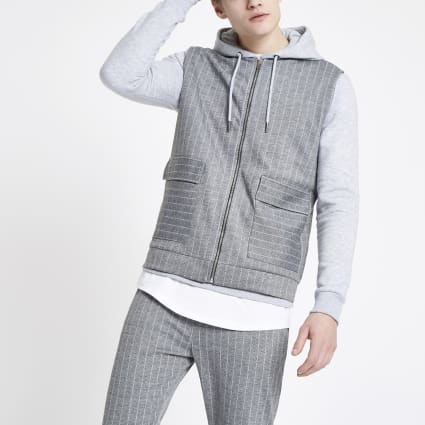 Grey pinstripe slim fit zip gilet