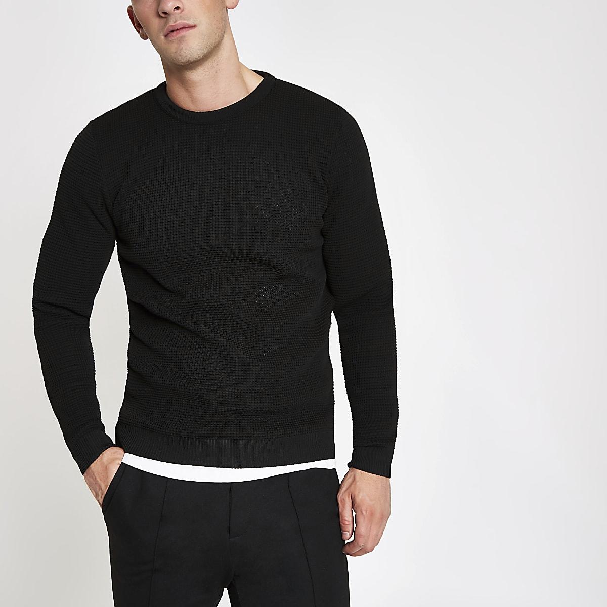 Schwarzer, strukturierter Slim Fit Strickpullover