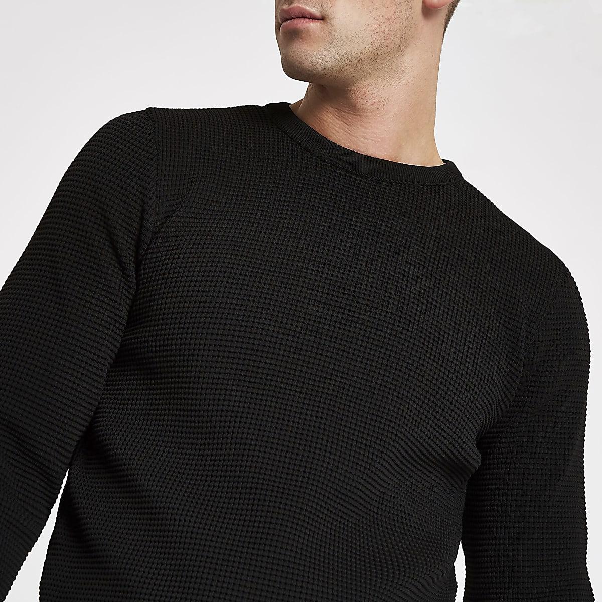 f42864287a6 Black textured knit slim fit jumper - Jumpers - Jumpers   Cardigans ...