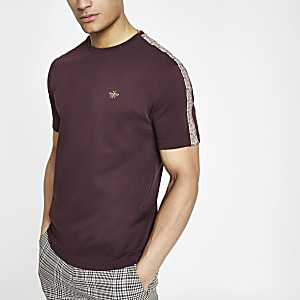 Burgundy slim fit check taped sleeve T-shirt