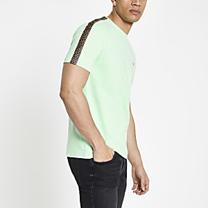 Green slim fit printed tape sleeve T-shirt