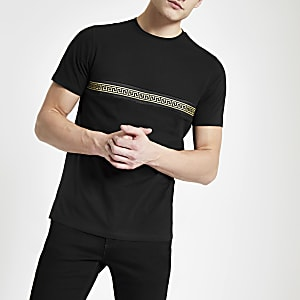 Black front and back trim T-shirt