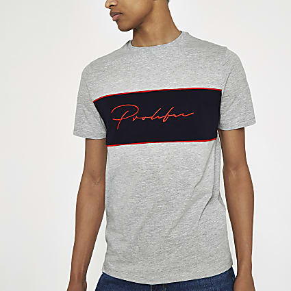 Grey marl Prolific embroidered T-shirt