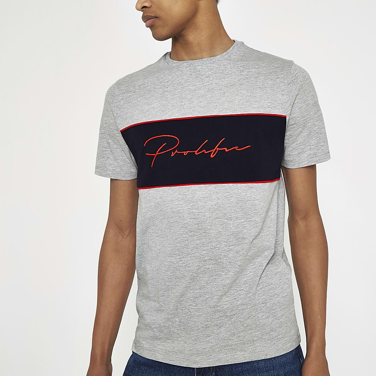 T-shirt gris chiné à broderie Prolific