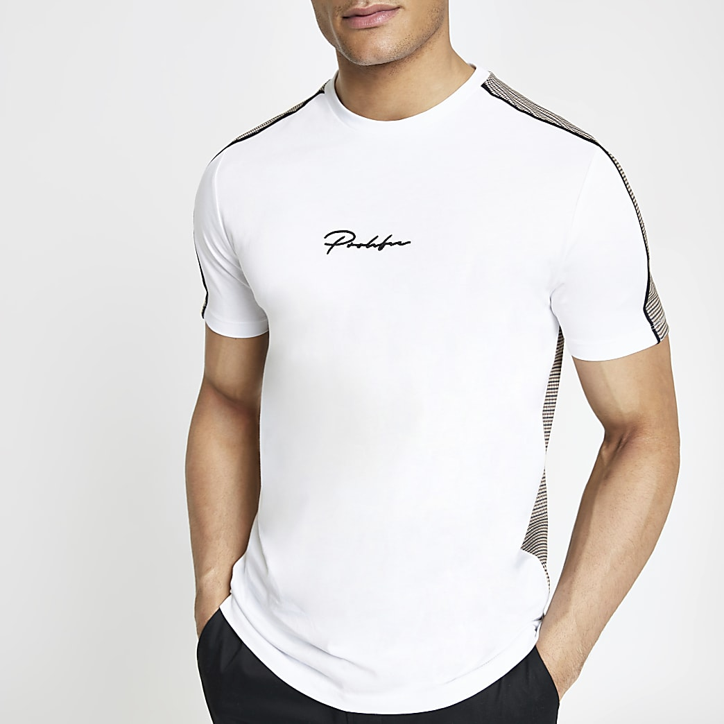 White slim fit Prolific check back T-shirt