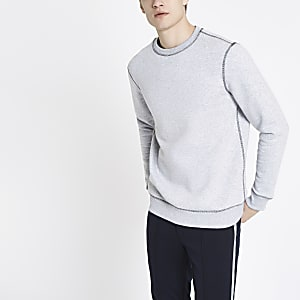 Grau meliertes Slim Fit Sweatshirt mit Kontrastnähten