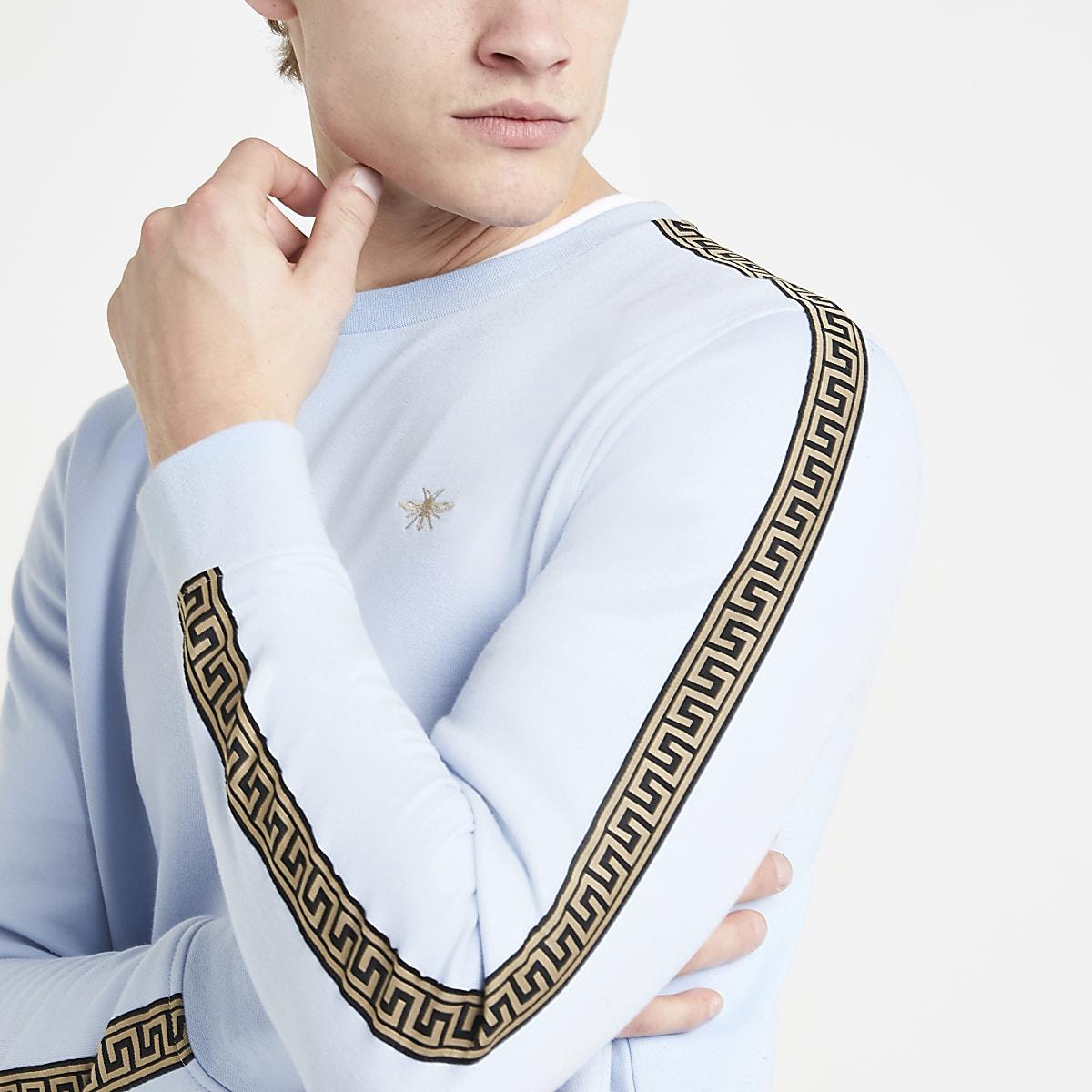 Blue wasp embroidered slim fit sweatshirt