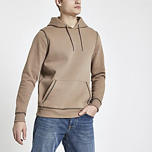 Sweat slim marron à surpiqûres contrastantes et capuche