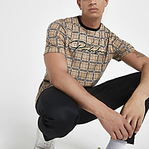 Brown 'Prolific' check slim fit T-shirt