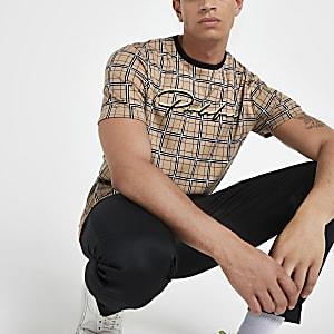 Brown 'Prolific' check slim fit T-shirt